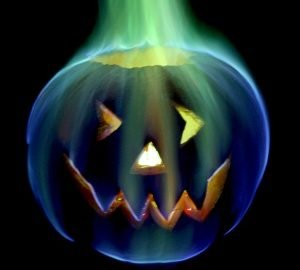 Boric Acid added to the fire in a jack-o-lantern