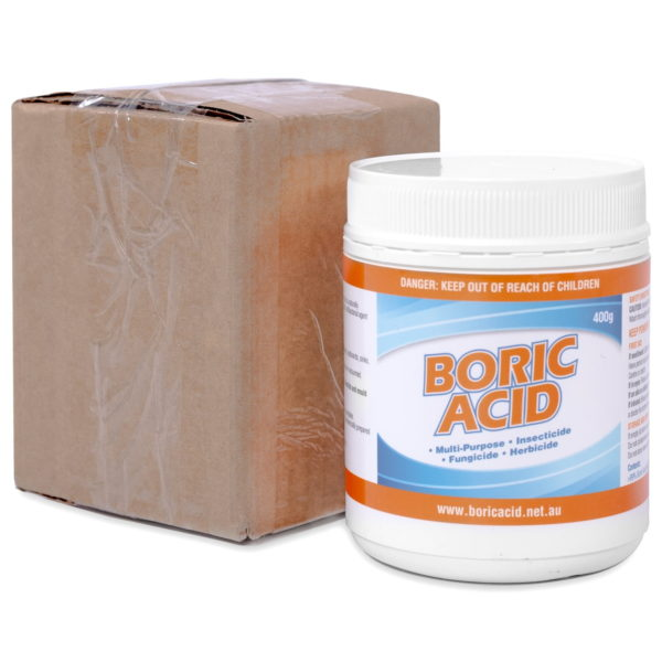The packaging for a 400g jar of boric acid