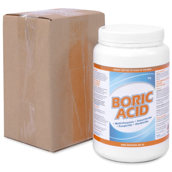 The packaging for a 2kg jar of boric acid
