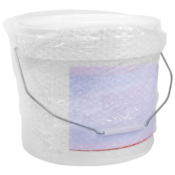 The 8kg pail of boric acid wrapped up for delivery